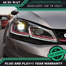 รถจัดแต่งทรงผมH7หัวโคมไฟสำหรับVW Golf7 Golf 7ไฟหน้าGolf 7 MK7 2014 2015 LEDไฟหน้าDRLเลนส์คู่Beam Bi Xenon