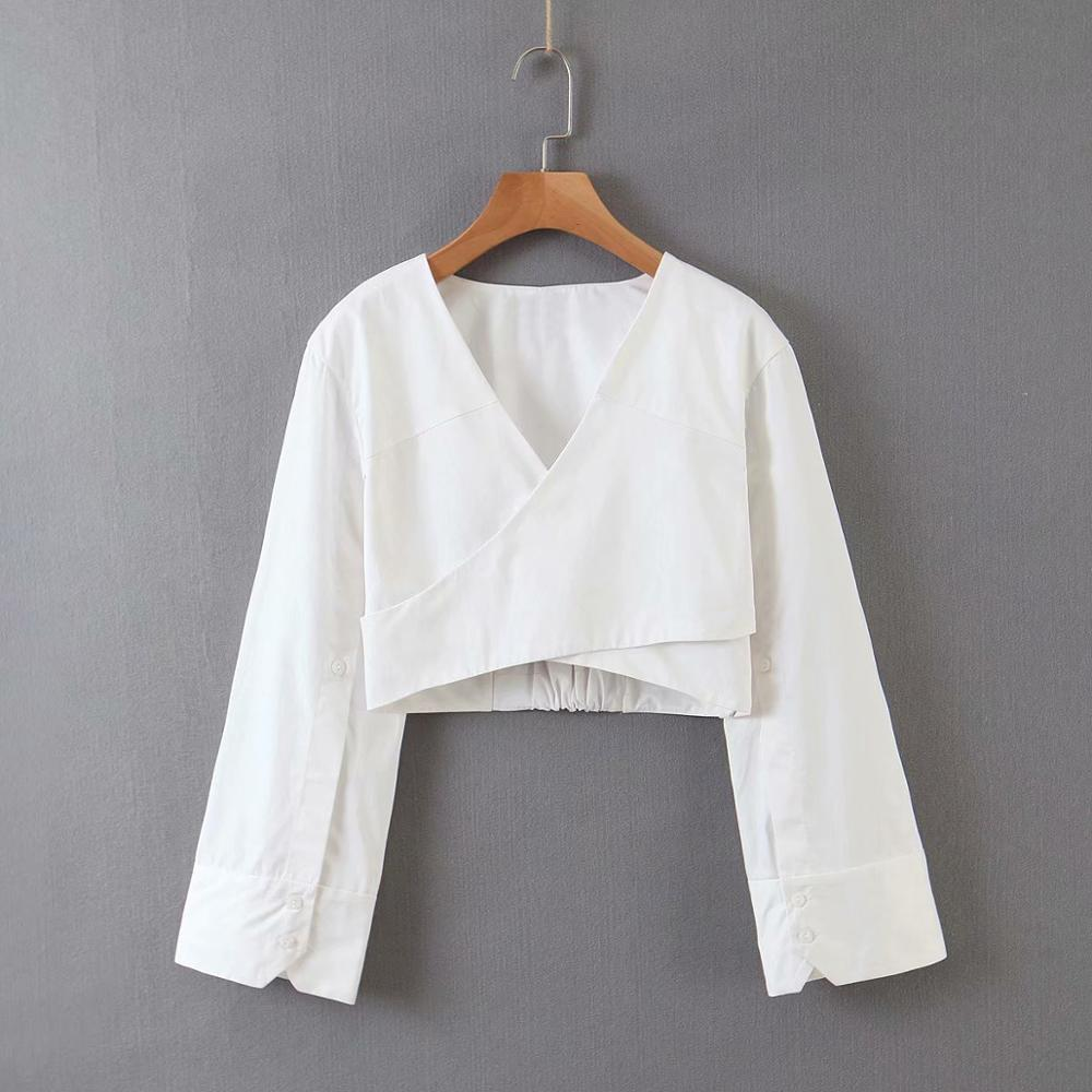 2020 Women Cross V Neck White Color Short Casual Smock Blouse Ladies Chic Long Sleeve Backless Shirts Femininas Crop Tops LS6541