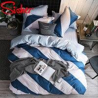 Geometric Stripe King Size Beddding Set Blue&White Brief Duvet Cover Sets Single Double Queen BedClothes Nordic Adult Bed Linens