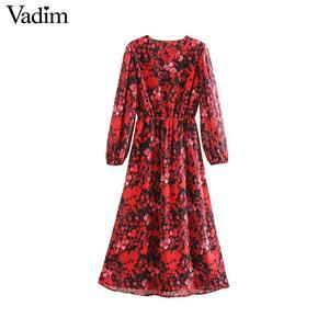 Image 2 - Vadim women fashion floral pattern chiffon dress V neck long sleeve elastic waist stylish midi dresses chic vestidos QD203