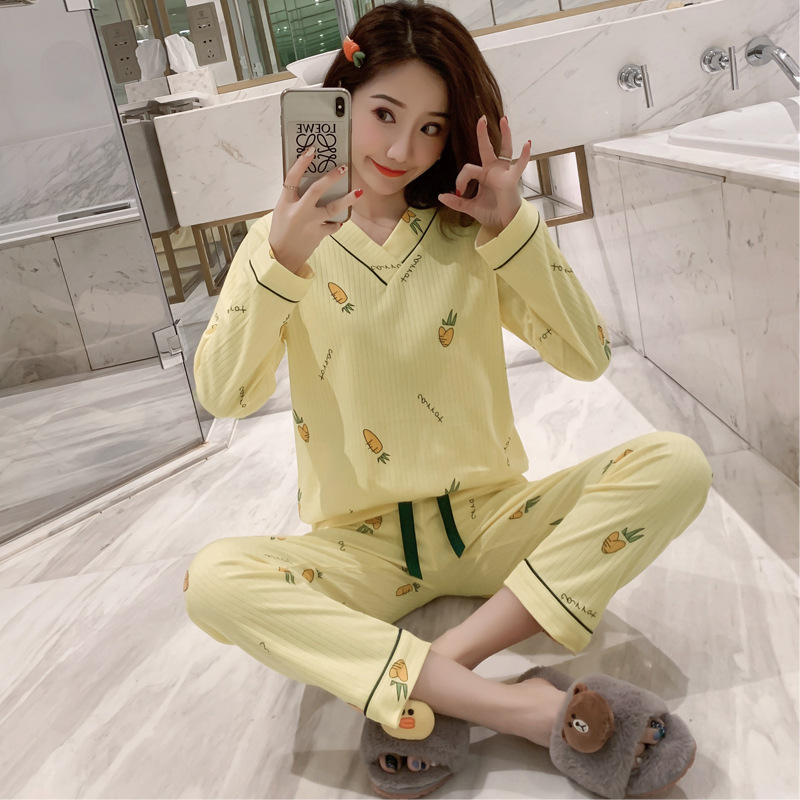 Pajamas Women's Spring And Autumn Long Sleeve Pure Cotton Cute Radish Sweet Korean-style Students-Outer Wear Tracksuit Two-Piece