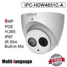 Caméra réseau dôme POE 6MP, microphone intégré, structure métallique, codec H.265, système infrarouge 50m, modèle IPC HDW4631C A remplaçant