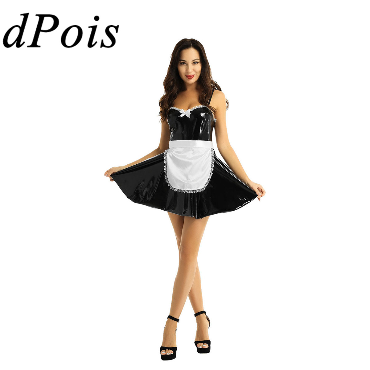 Women School Girl Uniform Outfit Adult Maid Fancy Dress Lingerie Cosplay Costume
