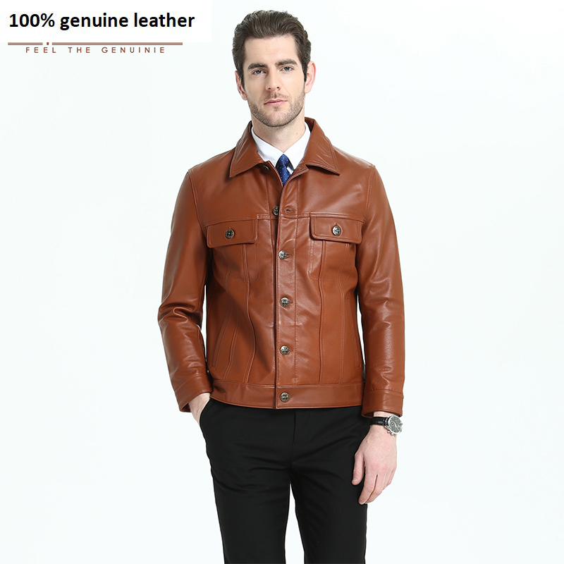 Men Leather Jacket 100% Natural Calfskin Black Yellow Brown Men's Genuine Leather Jacket Man Autumn Male Real Skin Clothing M303