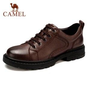 Image 1 - Zapatos de hombre de cuero genuino CAMEL Otoño, vestido de negocios inglés, zapatos de papá cómodos informales, calzado antideslizante de cuero cabelludo grande para hombre