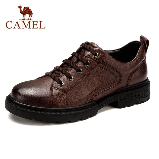 Zapatos de hombre de cuero genuino CAMEL Otoño, vestido de negocios inglés, zapatos de papá cómodos informales, calzado antideslizante de cuero cabelludo grande para hombre