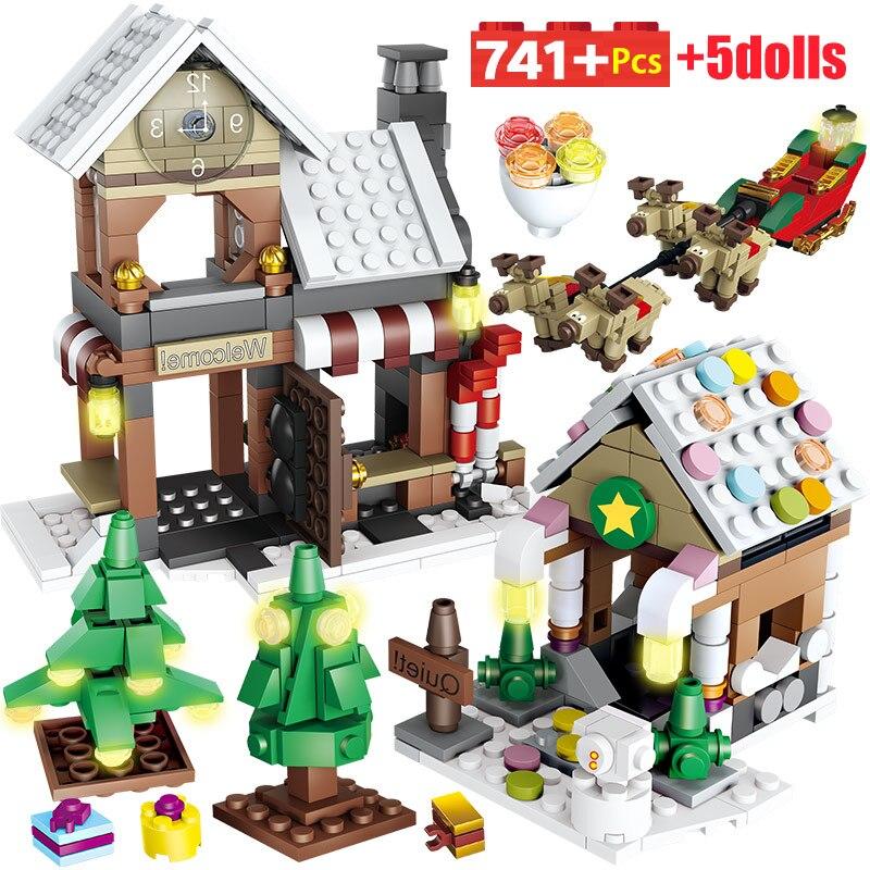 741PCS Winter Village Christmas Tree Snowman Building Blocks Legoinglys Christmas Gifts Santa Claus Figures Bricks Toys For Kids