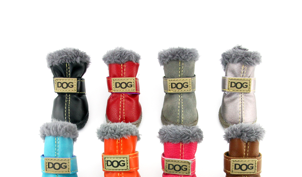 Winter Pet Dog Shoes Warm Snow Boots Waterproof Fur 4PcsSet Small Dogs Cotton Non Slip XS For ChiHuaHua Pug Pet Product PETASIA