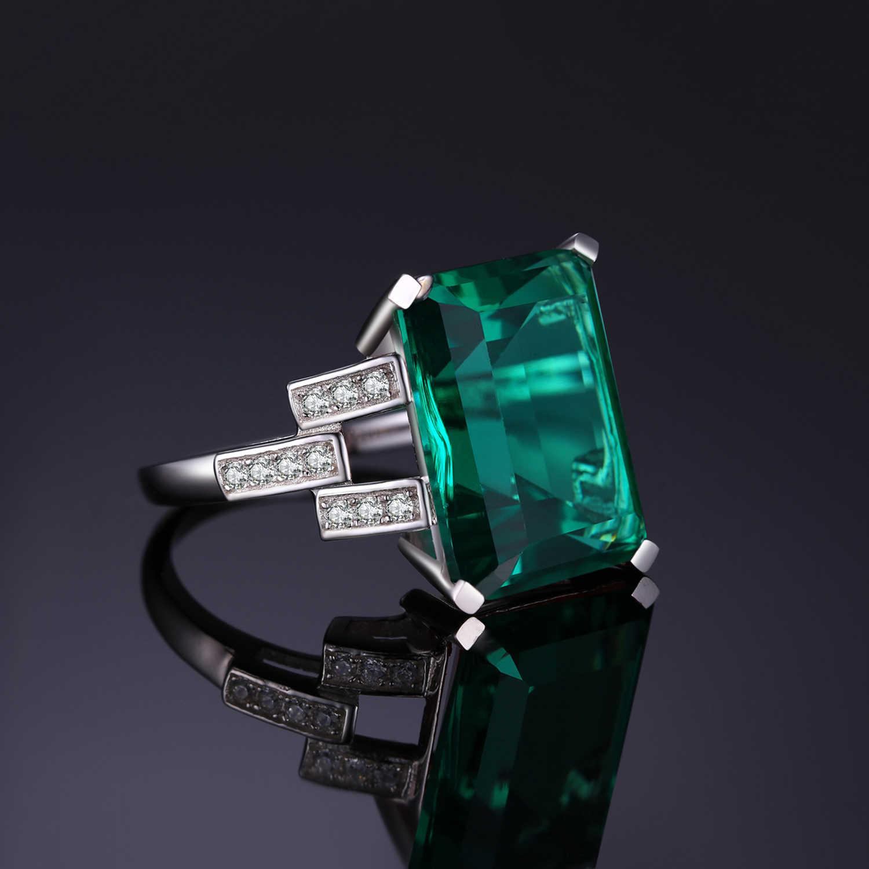 JewelryPalace 5.9ct Creato Nano Smeraldo Anello In Argento Sterling 925 Anelli per Le Donne Anello di Fidanzamento In Argento 925 Pietre Preziose Gioielli