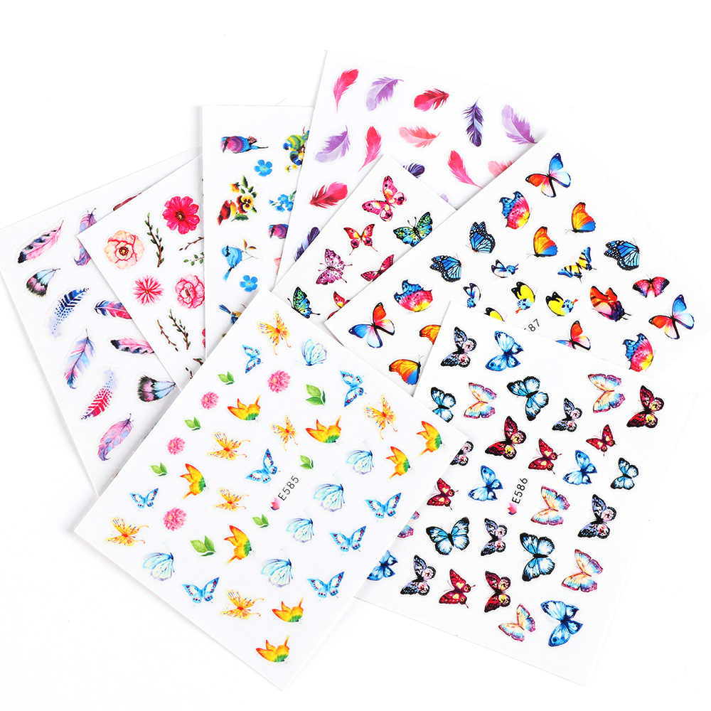 17Styles 3D Colorful Butterfly Flower Bird Nail Sticker Transfer Decals Nail Art Decoration DIY Manicure Tools Tip