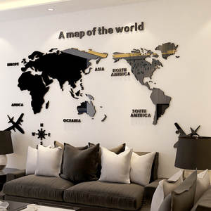 Wall-Sticker Background Map Room-Decoration Acrylic Living-Room Office Nordic-Style Creative