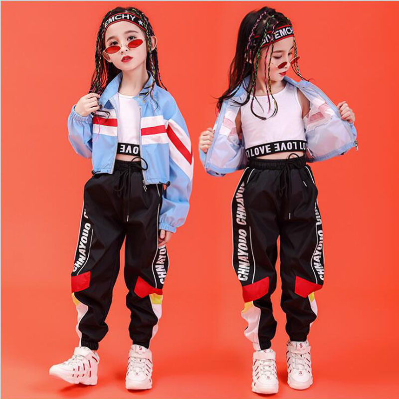 Children Hip Hop Performance Clothing  Sweatshirt Top Crop Loose Running Casual Pants For Girl Jazz Dance Costume Clothes Wear