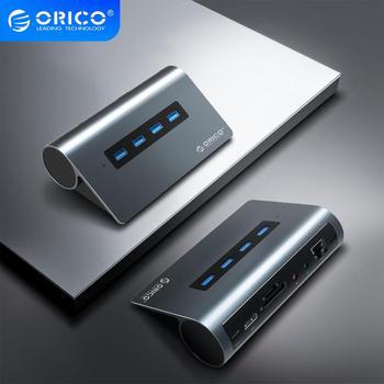 ORICO USB typ C HUB do wielu HDMI USB3.0 PD 60W RJ45 czytnik kart Audio OTG Adapter Dock USB Splitter dla MacBook Pro Huawei