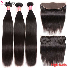Sunber Hair Peruvian Straight Hair High Ratio Remy Human Hair Weaving 3/4 Bundles With Lace Frontal 13×4/6 inch Free Shipping