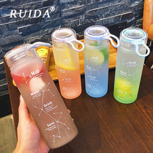 460ML Frosted Glass Water Bottle Personality Leakproof Bottles Portable Outdoor Travel Sports bottle students Drinkware