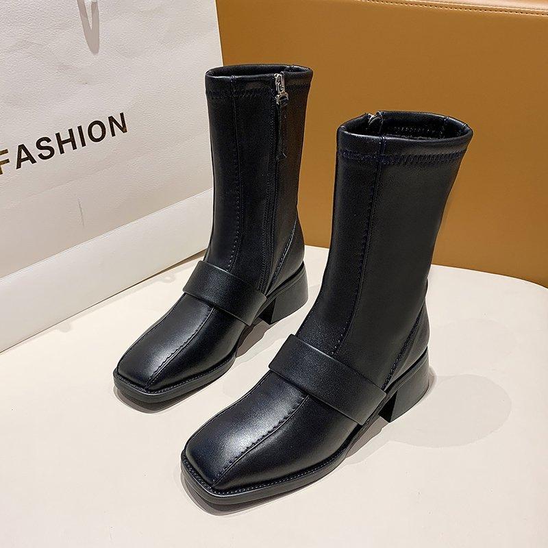 Купить 2020 winter fashion women boots casual zipper square heel ladies