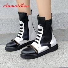 ANMAIRON 2019 Boots Women Fashion PU Lace-Up Mid-Calf Basic Short Plush Round Toe Square Heel Winter Shoes Women Size 34-43 цены онлайн