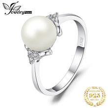 Anillo de perlas cultivadas en agua dulce JewPalace de 8mm 925 anillos de plata esterlina para mujeres anillo de compromiso plata 925 joyas de piedras preciosas