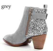 Ankle boots for women shiny glitter bling  crystal botas mujer chaussure w46