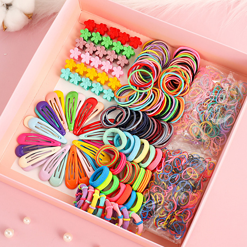 1Set Girls Cute Elastic Hair Bands Hairpins Flower Hair Claws Hair Clip Rubber Band Ponytail Holder Kids Fashion Hair Accessorie