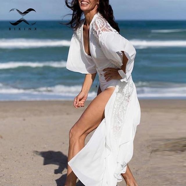 Mesh cover ups 2020 White beach wear women Ruffles kimono swimsuit cover up Long beach dress Summer bathing suits bathers new