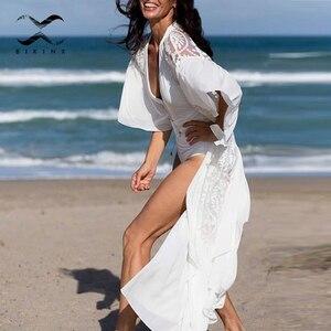 Image 1 - Ropa de playa blanca de malla 2020 para mujer, kimono con volantes, traje de baño para cubrirse, Vestido largo de playa, trajes de baño de verano, bañadores, novedad
