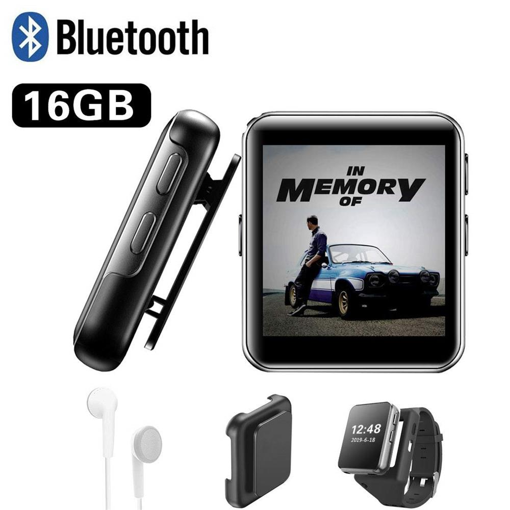 Mini Clipe MP3 Player Bluetooth com Tela Sensível Ao Toque de 1.5 Polegada MP3 Leitor de Música de Alta Fidelidade de Metal Portátil Audio Player com FM para a Execução de