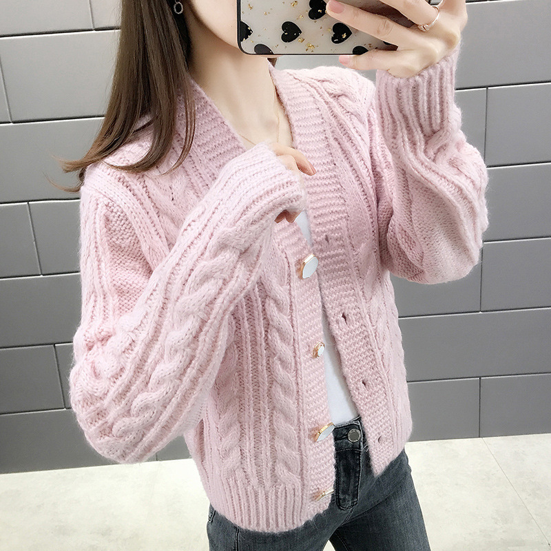 US $17.99 50% OFF|2020 Spring College Style Flower Print Knitted Doat Loose Retro V neck Cute Light Green Sweater Cardigan Blouse Casual Section| |