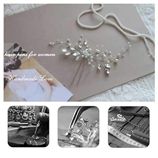 YouLaPan HP103-1 wedding hair accessories pearl bride headband pearl wedding headpieces for bride Bridal pins wedding clips 3