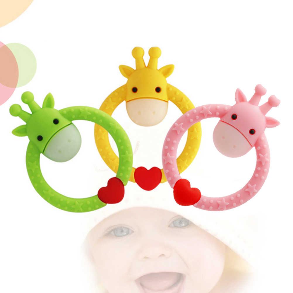 Bebê Mordedor de Silicone Redonda Anel Mordedores Infantil Dos Desenhos Animados Giraffe Animal Macio Encantos Crianças Enfermagem Dentição Mastigar Brinquedos