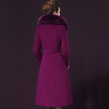 Double sided cashmere Fox fur collar Women Parka Winter New Long Purple Wool Coat Plus size Thick Tops Woolen Jacket Female