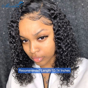 """Moxika 13*4 Lace Front Bob Curly Wig Pre-Plucked Brazilian Curly Human Hair Wigs 150% Density Short Bob Wigs Remy Hair Wig 8-26""""(China)"""