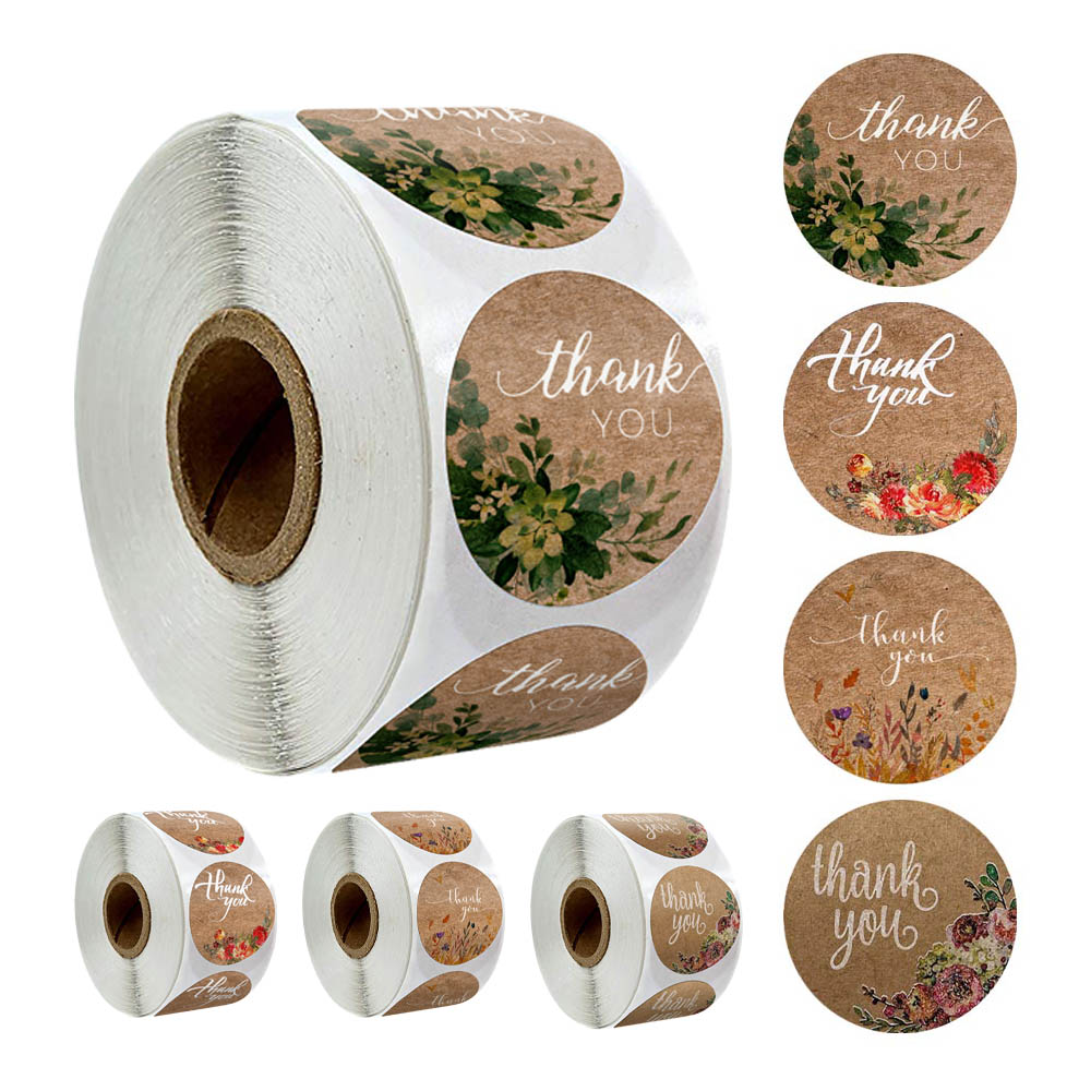 4 Kinds Of Design Flowers Thank You Stickers For Natural Kraft Paper Stickers Scrapbooking Packaging Labels Stationery Stickers