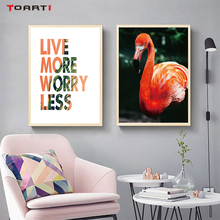 LIVE MORE WORRY LESS FLamigo HD print wall painting art poster decor living room bedroom nordic modular picture mural chart