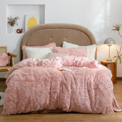 Longo vison cabelo conjunto de cama longo cabelo + veludo velo duvet cover conjunto engrossar quente conjunto de roupa cama (sem enchimento) doce rosa conjunto