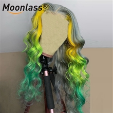 Highlight Wig Closure Human-Hair Lace Transparent Grey Colored Green Women Brazilian