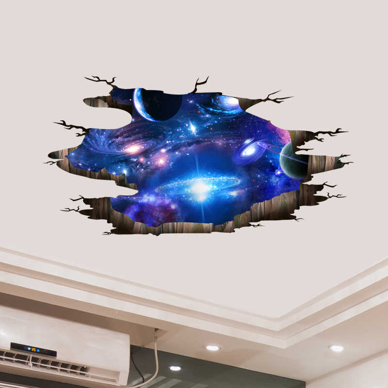 Shijuehezi 3d Wall Stickers Diy Outer Space Milky Way Wall Decor For House Kids Room Baby Bedroom Ceiling Floor Decoration Wall Decals Galaxy Wall Decals3d Wall Stickers Aliexpress
