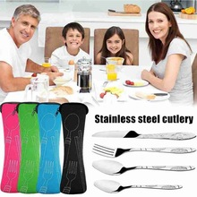 Camping Cutlery Fork-Spoon Knifes Steak Travel Picnic Steel 4pcs Eyefuldiving-Bag Family