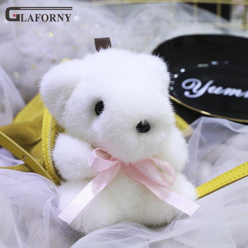 2019 Glaforny porte-clés véritable importation vison cheveux mer ours pendentif en peluche blanc ours ornement sac porte-clés voiture anneau décoration