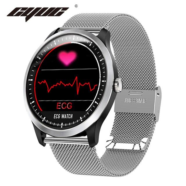 CYUC N58 ECG PPG montre intelligente hommes électrocardiogramme ecg affichage, holter ecg traqueur de fréquence cardiaque moniteur de pression artérielle smartwatch