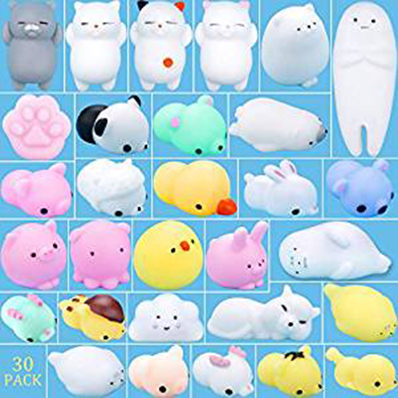 30 Pcs Mochi Animals Stress Toys, Mini Animal Squishy Stress Relief Animal Toys Squeeze Toys Mini Seal Bear Cat Tiger Rabbit Pig