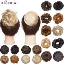S-noilite 30g 100% Real Human Hair Curly Hair Bun Drawstring Bundle Scrunchies Updos Donut Chignon Hair Extensions Wrap Ponytail