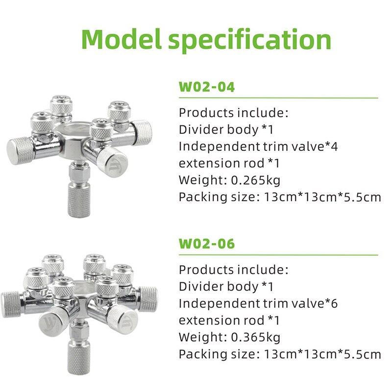 WYIN Stainless Steel Aquarium Multi Way CO2 Distributor Splitter Needle Valve, Check Valve Bubble Counter for Solenoid Regulat