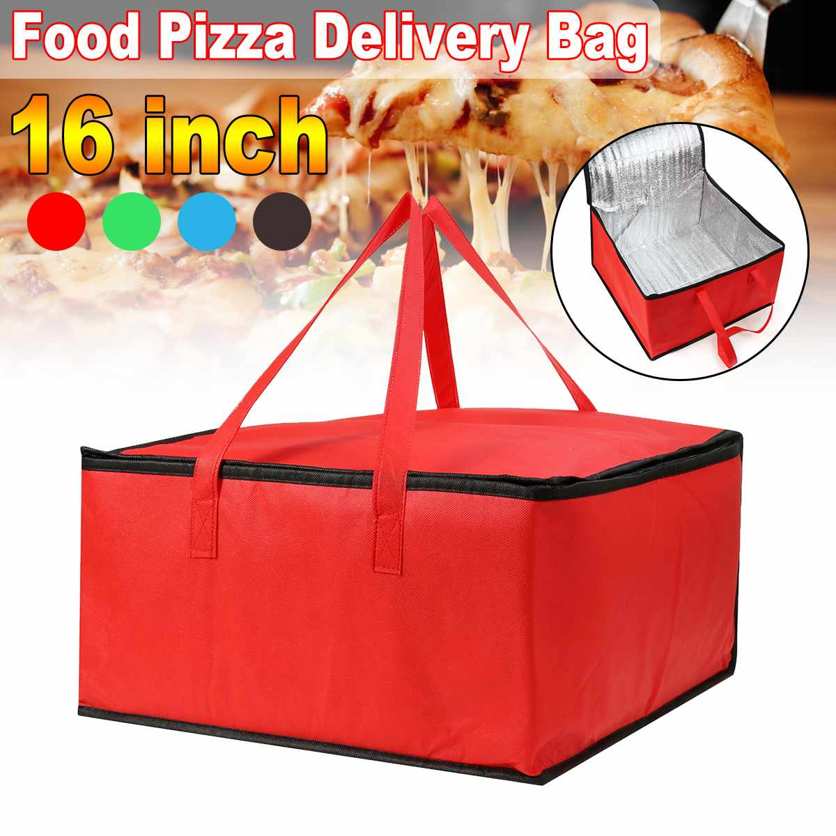 16 Inch Insulated Bag Lunch Cooler Bag Insulation Folding Picnic Portable Ice Pack Food Thermal Food Delivery Bag Pizza