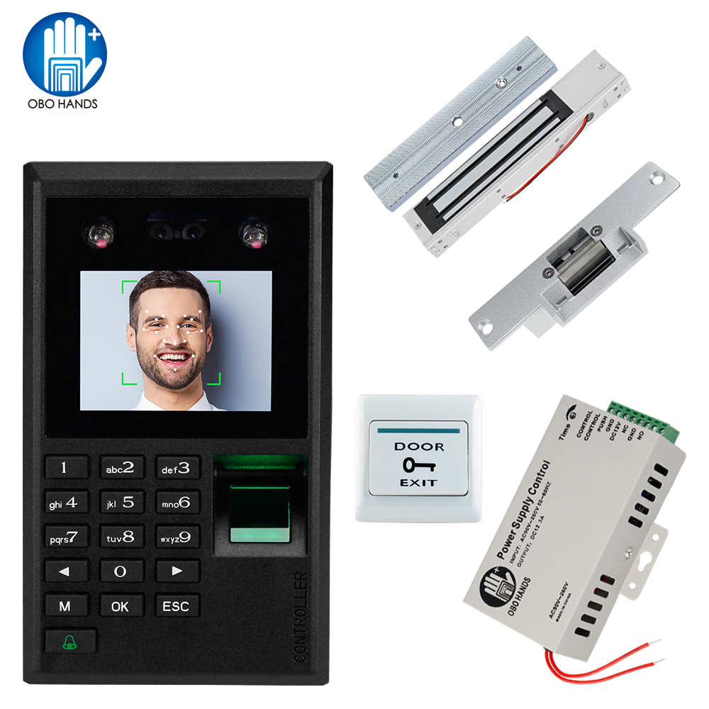 Face Fingerprint Keypad Door Access Control System Biometric Access Control Power Supply + Electric Lock Electromagnetic Strike
