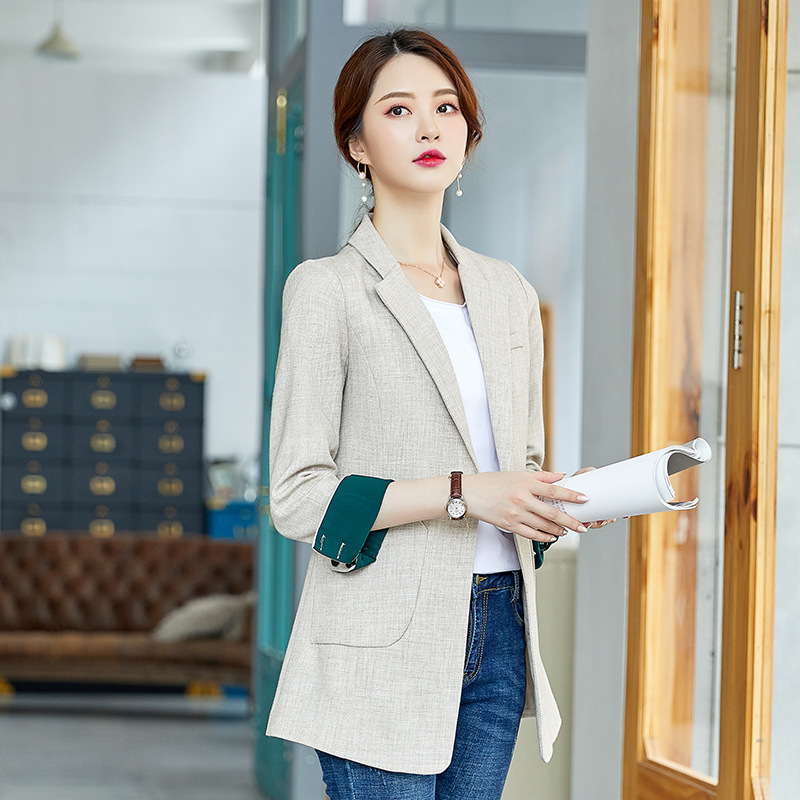 High-quality women's mid-length jacket feminine 2020 new Korean casual ladies blazer Spring and autumn fashion small suit coat