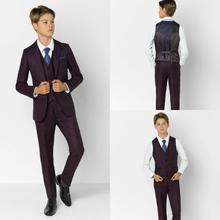Бордовый клетчатый костюм для мальчиков костюмы для ужина костюмы для мальчиков смокинг для детей, высокое качество, официальные костюмы для торжественных случаев для маленьких мужчин, комплект из трех предметов