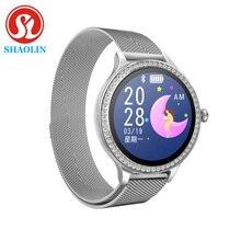 스마트 워치 여성 IP68 방수 긴 대기 1.04 인치 화면 심박 측정기 smartwatch for apple andriod ios 레이디 시계