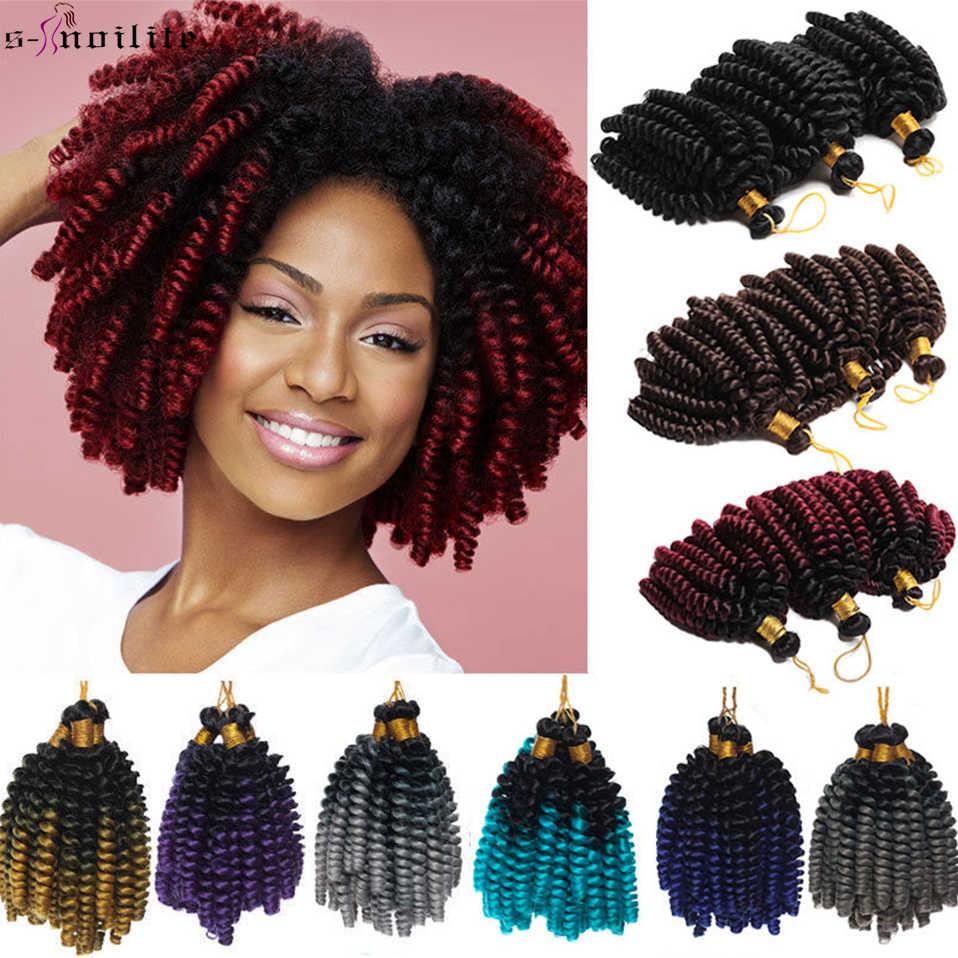 SNOILITE corto Ombre Jumpy Wand Curl trenzas de ganchillo 20 raíces jamaicano rebote extensión de cabello de ganchillo sintético para mujeres negras