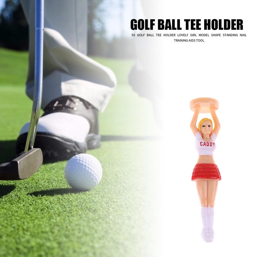 5pcs Beauty Cheerleader Model Shaped Golf Balls Standing Nail Practical Golf Ball Tees Holder Sports Training Aids Tool